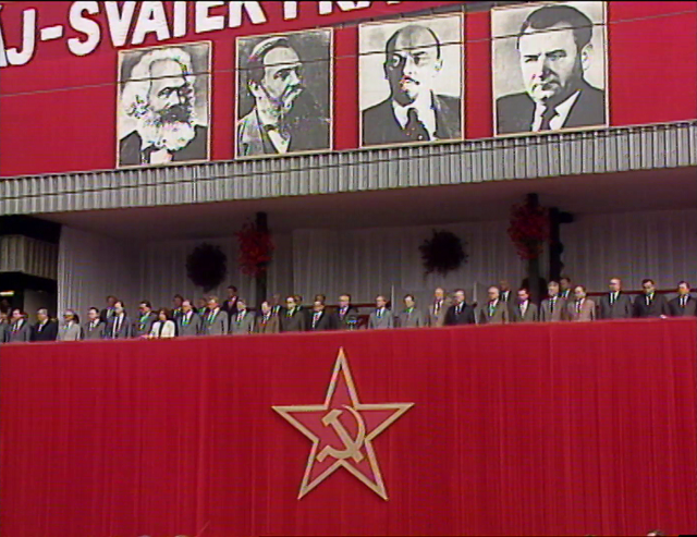 Oslavy 1. máje 1984. Bruno na tribuně úplně vpravo.